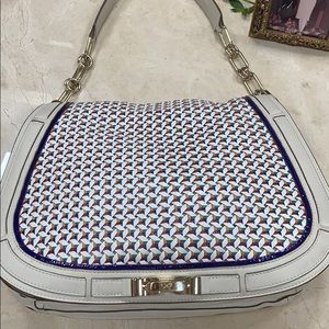 Anya Hindmarch Bags - ANYA HINDMARCH CREAM/MULTICOLOR WOVEN LEATHER BAG